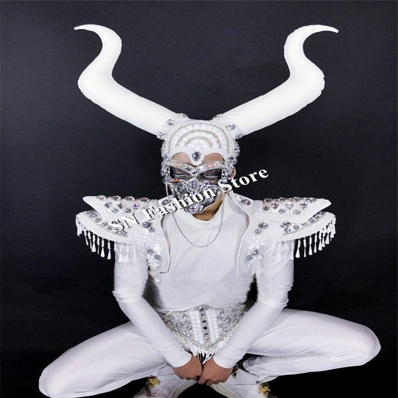 CC97 мужские Бальные Танцевальные Костюмы Маска диджея череп сценический костюм панцири клубная певица подиум модели носит Роговая одежда представление - 5