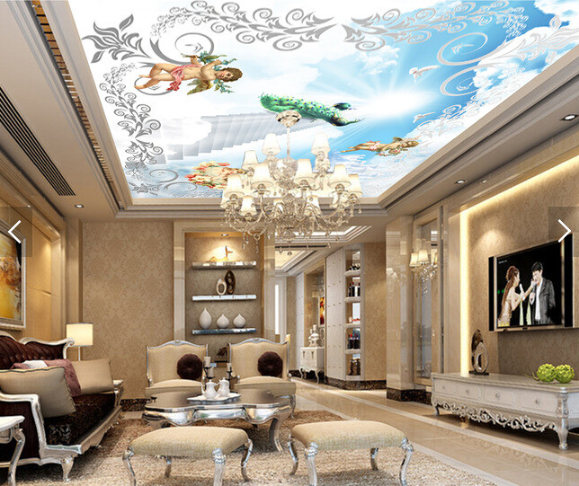 Custom ceiling wallpaper. Angel blue sky murals for the living room bedroom ceiling wall waterproof vinyl papel de parede european church square ceiling frescoes murals living room bedroom study paper 3d wallpaper