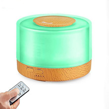 GRTCO 500ML Oil Aroma Diffuser Wood Grain Air Humidifier Fragrance Machine Cool Mist with Remote Control 7Colors Led Lamp