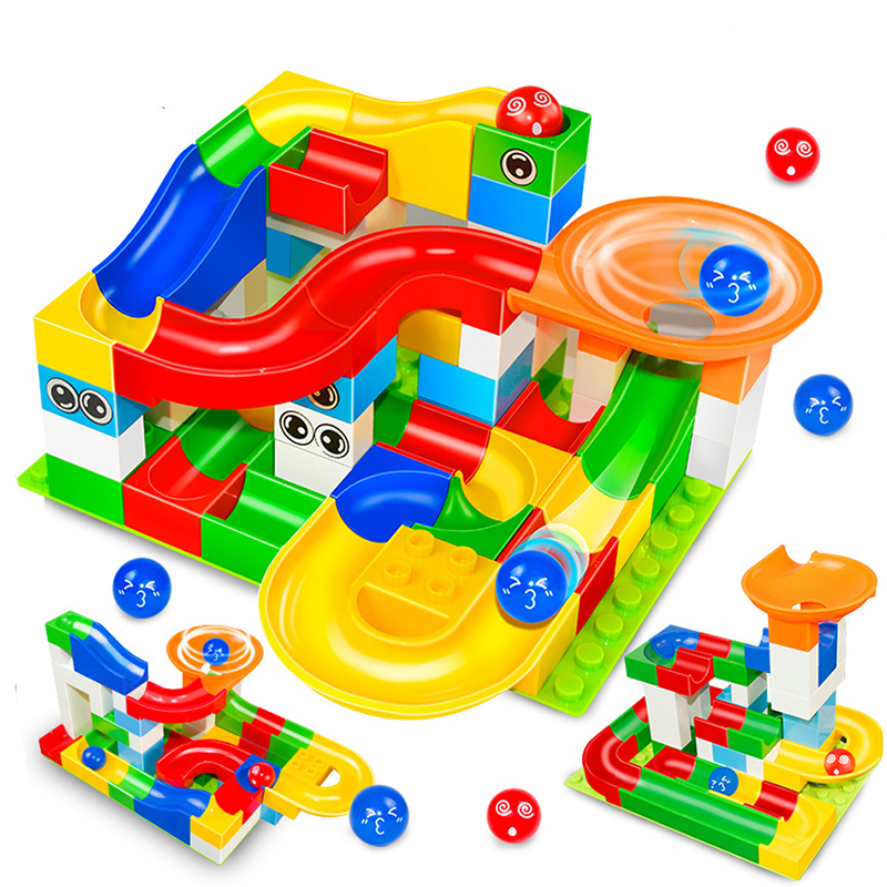 20-248PCS Marble Race Run Maze Ball Track Building Blocks Plastic Funnel Slide Big Size Bricks Duplo Blocks Kids Toy Gift candice guo plastic toy children block track ball building blocks 74pcs diy maze marble run construction system race deluxe gift