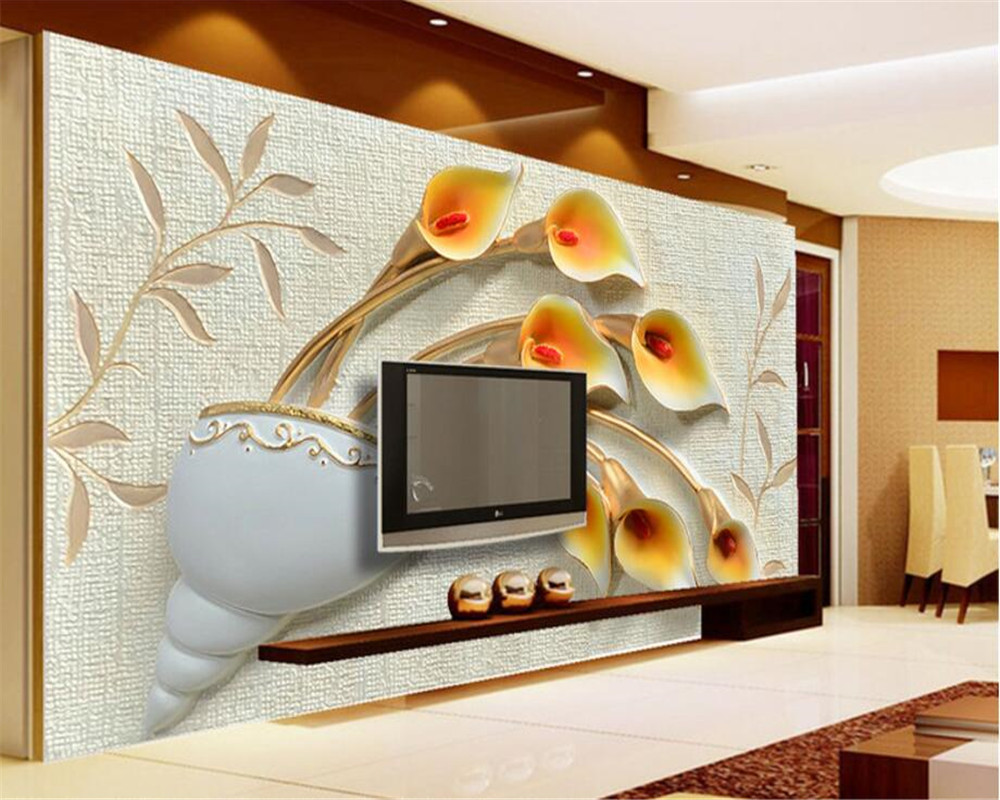 Beibehang Custom Photo Wall Mural 3d Wallpaper Luxury: Beibehang Custom Photo Wallpaper 3D Mural Relief Calla