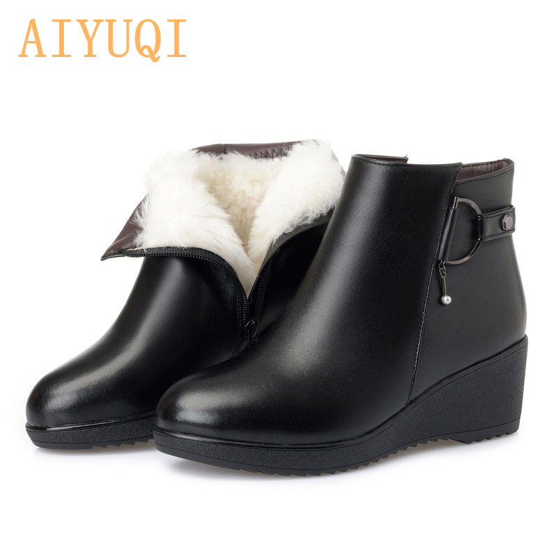 AIYUQI  Mother boots wedge big size 41 42 43 women boots shoes, thicken wool snow boots 2019 genuine leather women winter bootsAIYUQI  Mother boots wedge big size 41 42 43 women boots shoes, thicken wool snow boots 2019 genuine leather women winter boots