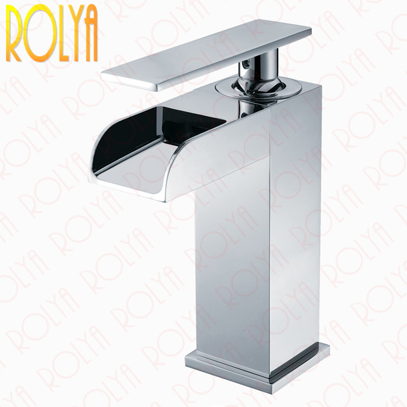 Rolya Cubix Waterfall Bathroom Faucet Cascade Square Style Basin Mixer Tap Solid Brass Chrome Single Handle micoe hot and cold water basin faucet mixer single handle single hole modern style chrome tap square multi function m hc203