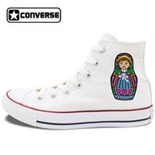 White Skateboarding Shoes Original Design Russia Colorful Matryoshka Doll Unisex Converse Chuck Taylor Men Women Canvas Sneakers