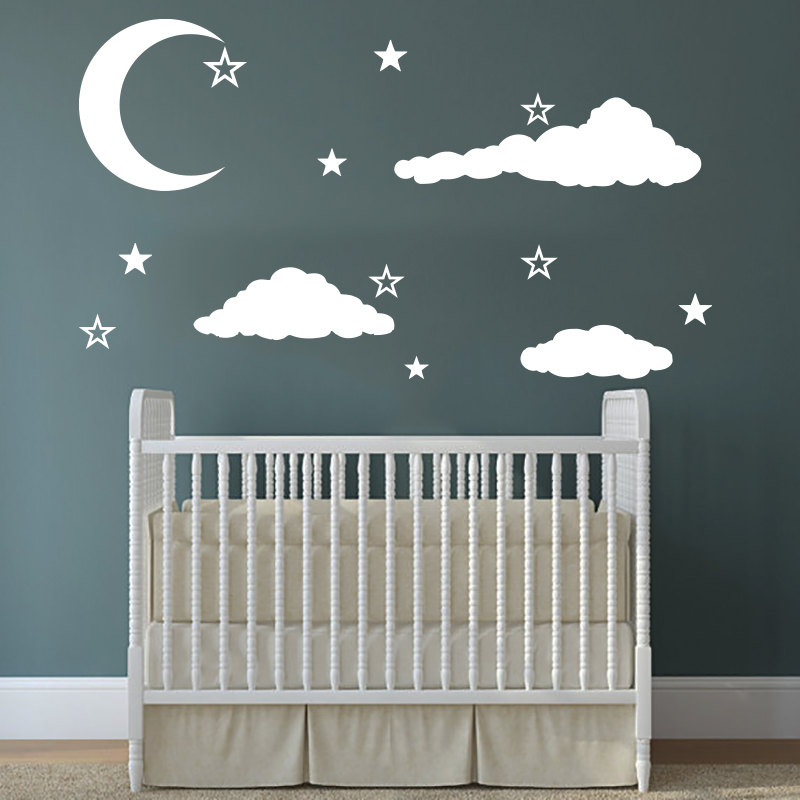 home girls babies bedroom decoration wall decals clouds moons with