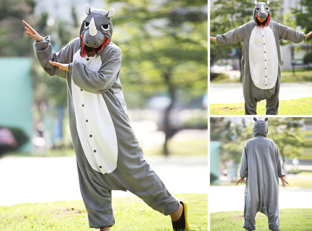 New Animal Pajamas Women Costumes Gray Rhinoceros Onesies Men Pyjamas Costumes Cartoon Sleepsuit Sleepwear