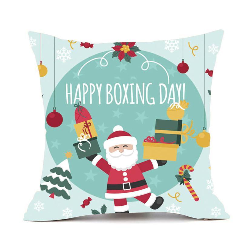 Chrismas Tree Letters Snta Claus Cushion Cover Christmas Dachshund Decoration Vintage Pillowcase Scandinavia Cover
