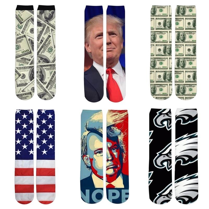 dropshipping Great USA Flag Eagle Sock 3d Print President Trump Dollars Socks For Women/Men Fashion Short Cotton Socks