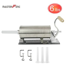 6 LBS buatan sendiri meja manual sosis stuffer filler stainless steel jarum suntik alat dapur pembuat daging processor