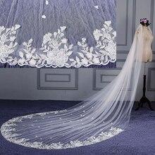 4 метра супер широкая свадебная фата для собора шампанского длинная кружевная кромка белая Фата невесты Свадебные аксессуары для невесты Veu De Noiva