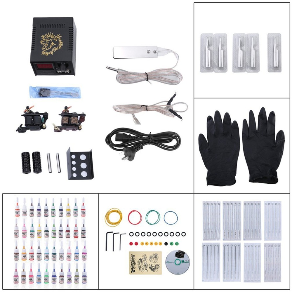 Tattoo Kit Set 40 Color Inks Power Supply 2 TOP Machine Guns 2018 new sellingTattoo Kit Set 40 Color Inks Power Supply 2 TOP Machine Guns 2018 new selling