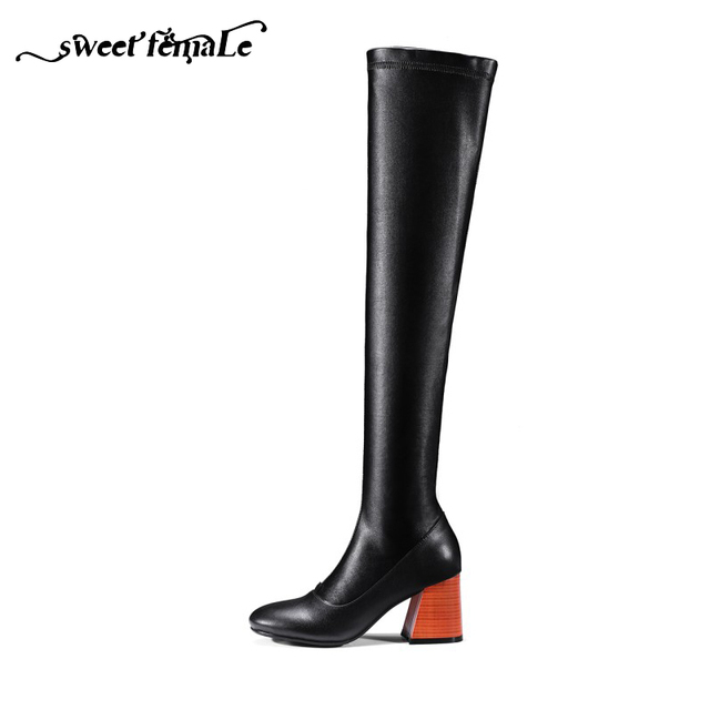 Automne Hiver De Mode Naturel Véritable en cuir Stretch bottes Femme  Chaussures Épais avec Over- 60cfc25b26b0