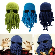 Novelty Octopus Squid Knitted Hat Cosplay Face Mask Cap Head Accessory