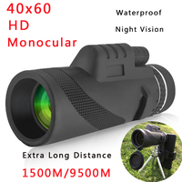 40x60 HD Portable Monoculars Telescope High Powered Waterproof Night Vision Hiking Hunting Travel Zoom Telescope for Cell Phone