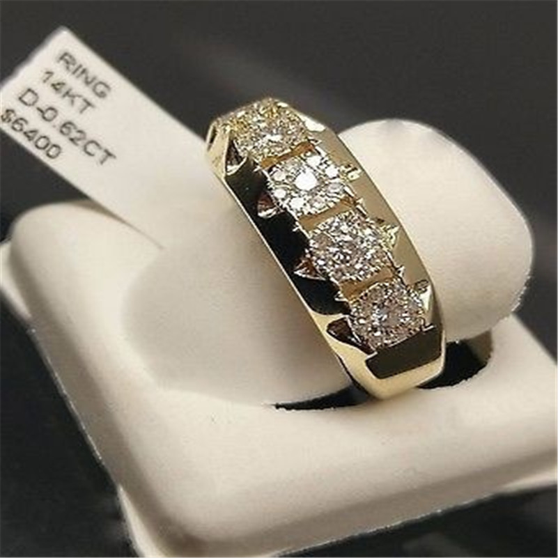 14k Gold Diamond Ring for Women To Join Party Peridot Gemstone Anillos De Wedding Diamante Engagement Jewelry Fashion Ring(China)