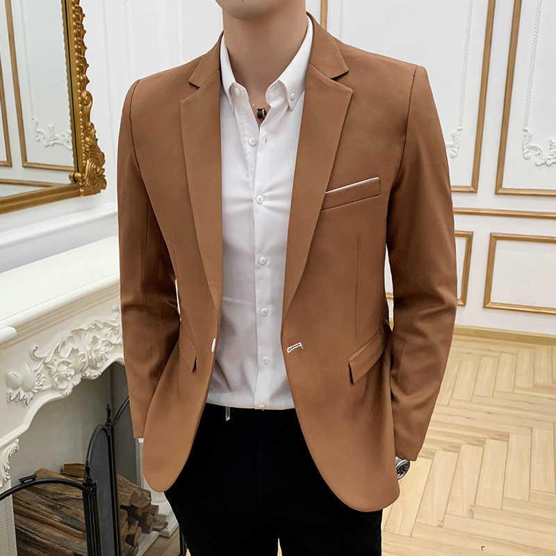 Color puro traje de alta calidad hombres negocios casual vestido chaqueta para hombre slim fit Blazers hombre abrigo tamaño S-3XL