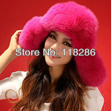 Luxury Lady fox fur trapper hat fashion winter wild fur hat handmade