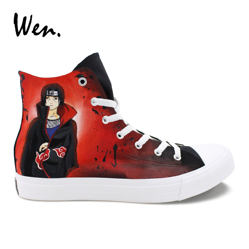Wen Hand Painted Skateboard Shoes Design Naruto Itachi Jiraiya High Top Anime Canvas Shoes Women Black Men Sneakers Plimsolls