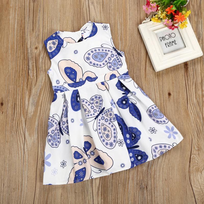 2018 Children Girl Butterfly Printed Leaking Dresses Kids Girls Causal Sleeveless Dresses 2018 Children Clothing