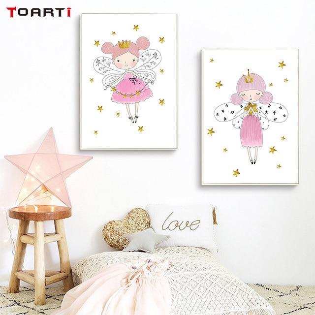 Kolorowe Piękne Magiczne Dziewczyny Gwiazda Płótno Malowanie Plakaty