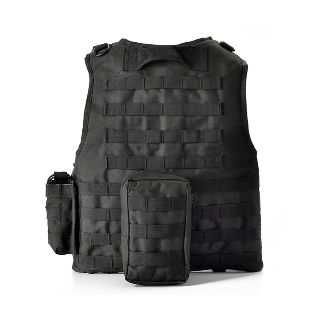Casque hornfactures militaire tactique gilet Camouflage Body Armor tenue de sport chasse gilet armée Molle Police gilet noir - 4