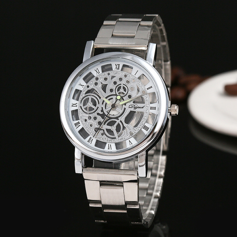 Steel Watches Gold Silver Men Fashion Casual Clock Hollow Skeleton Dial Factory Outlet Provide Quartz Wrist watch relogio gift
