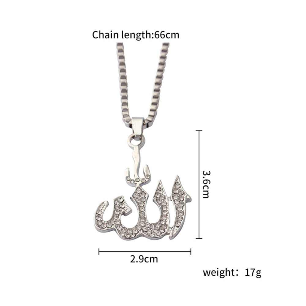 Vintage muzułmanin Islam Allah wisiorek naszyjniki srebrny złoty kolor Ice Out Chain naszyjnik biżuteria religijna mężczyźni #280168