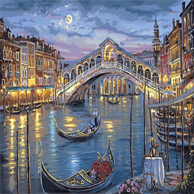 Nacht in Venedig DIY Malen Nach Zahlen Kits Färbung ...