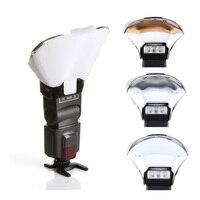 Speedlight flash relâmpago bounce cartão reflexivo difusor com 3 cores caixa suave flash speedlite refletor