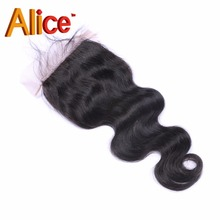 4×4 Middle/Free Part Lace Closure Peruvian Body Wave Closure Brazilian Virgin Hair Closure Bleached Knots Shipping Free