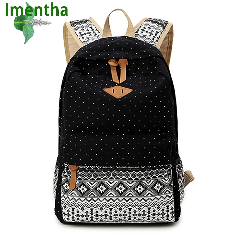 Preppy Bagpack Female Canvas dots Printing Backpack Women Computer Back Pack Lady School Bags for Teenagers Gilrs