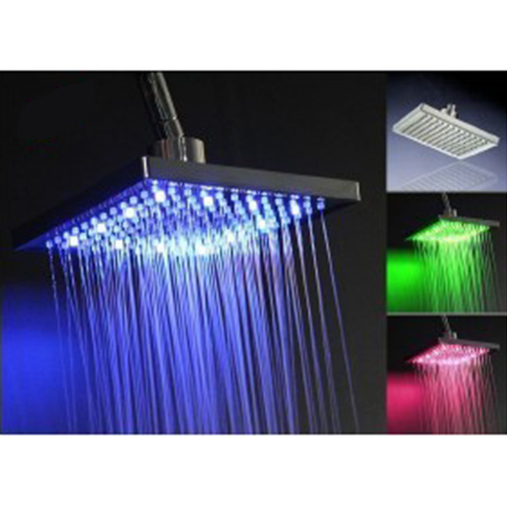 Hot Selling RC-S0801A 8 Square ABS Plastic 3 Colors Automatic Changing Bathroom LED Light Rain Top Shower Head with16 LED light 8 bathroom copper colorful square top shower head silver