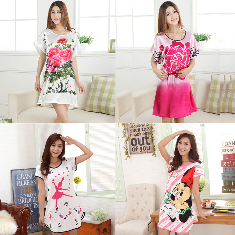 New Casual Sleepshirts Women Short-sleeve Nightgown Women Sleep Lounge girls sleepwear loose underwear nightdress G0443