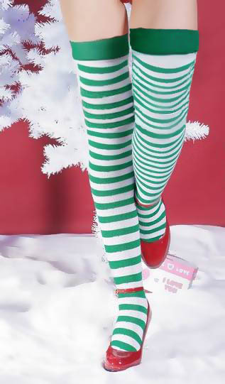 fd74314652e Free shipping 3F8079 Green and White Striped Knee High Socks christmas  stockings-in Stockings from Underwear   Sleepwears on Aliexpress.com