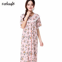 Fashion New Nightwear Women Casual Loose Long Nightdress Floral Print Cotton Nightgowns Female Summer Sleeping Dress