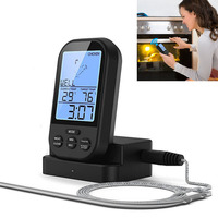 Wireless Digital Meat Thermometer Remote BBQ Kitchen Cooking For Oven Grill Smoker With Timer E2S