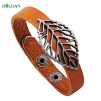 Hollow Out Leaf Vinatge Belt Buckle Punk Rock Stainless Steel Weave White Leather Bracelet&Bangle For Men Jewelry Braided Ethnic