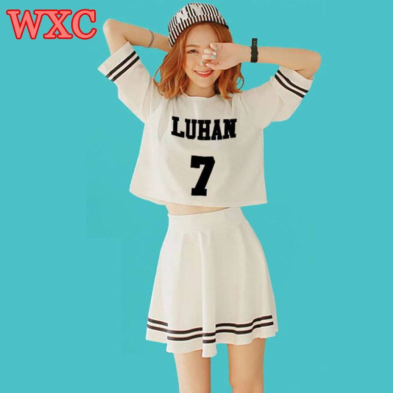 Summer Girls Dress Set Kpop EXO Luhan Kai Kris Same Should Aid Dresses K-pop Women's Striped Mini Dress 2 Piece Set Vestidos WXC