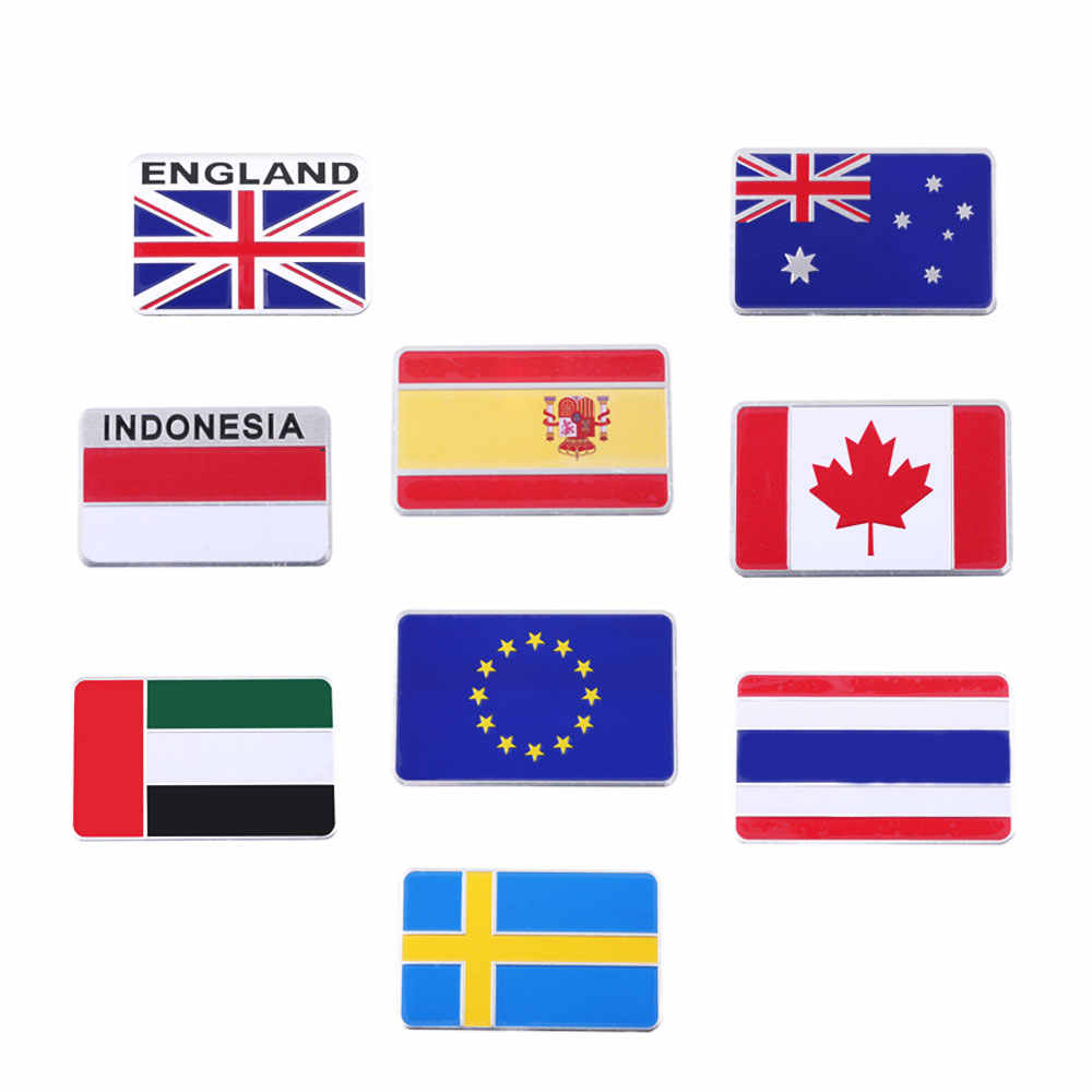1 Pcs 3D Aluminum Alloy Italy Germany France Russia Australia England  Switzerland Spain Map National Flags Car Sticker Car Styli