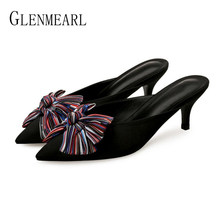 Brand Women Slippers High Heels Mules Summers Shoes Female Fashion Black  Flowers Pointed Toe Ladies Shoe Newest Wedding Slides 56234d1b6036