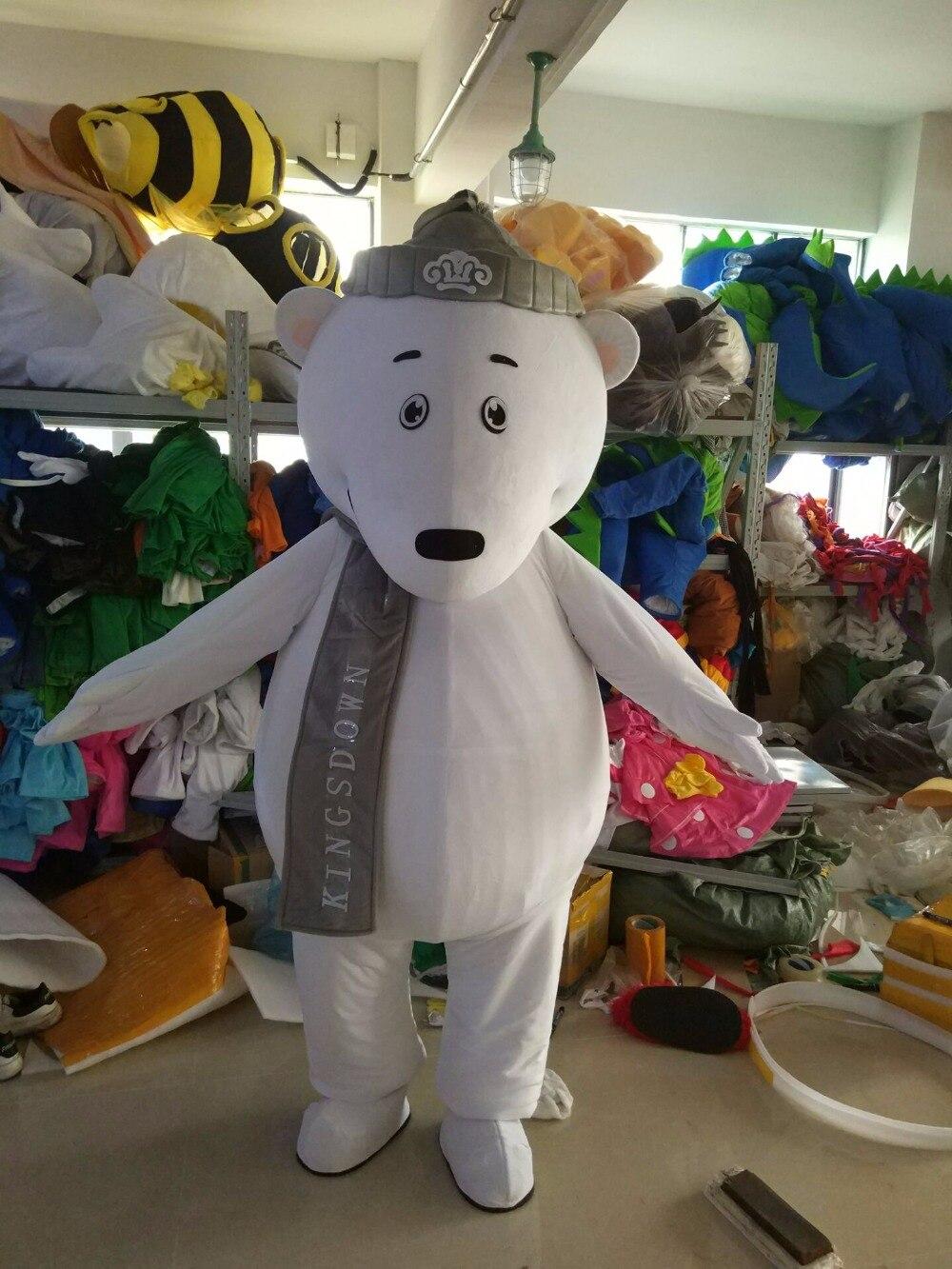 Costume de mascotte ours polaire blanc taille adulte pour fête d'halloween avec livraison gratuite