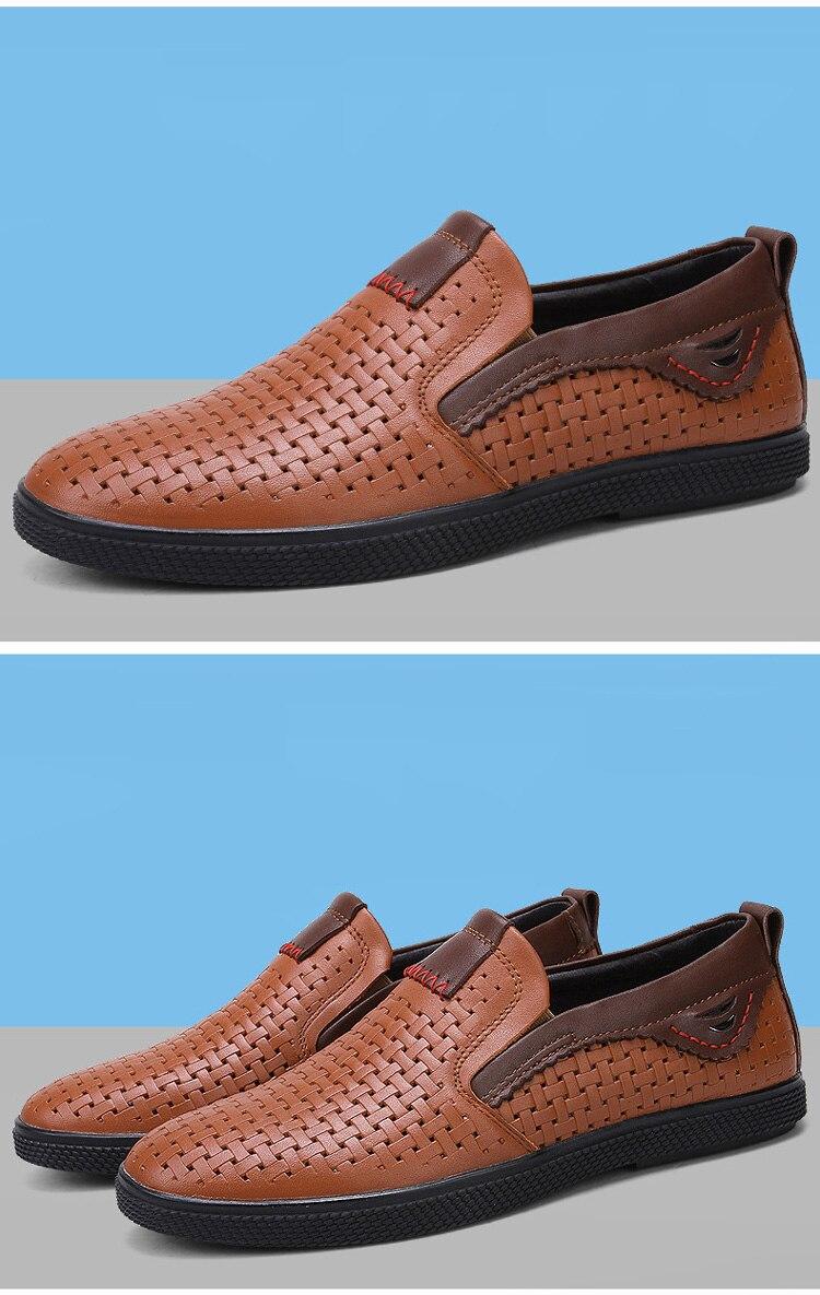SocNoDn Hommes de Chaussures En Cuir Glissement sur 2018 Printemps Été Mode  Plat Mocassins Chaussures Hommes En Cuir Véritable Occasionnels Chaussures  ... cc8a98352b87