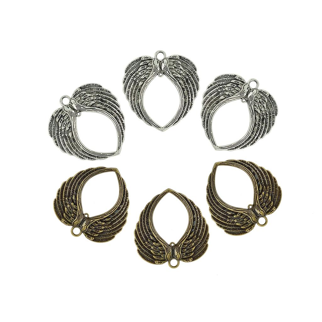 10 x 6 Pieces Vintage Big Double Angel Wings Heart Charm Pendant DIY Jewelry 14k enamel heart angel pendant jewelryweb