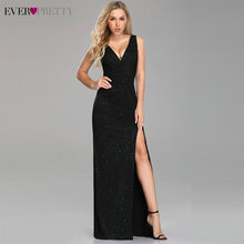Evening Dresses Long 2020 Ever Pretty EP07505 A line Cheap V neck Long Gillter Side Split Long Sexy Evening Gowns for Ladies