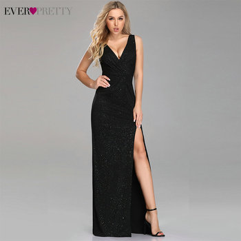 Evening Dresses Long 2020 Ever Pretty EP07505 A-line Cheap V-neck Gillter Side Split Sexy Gowns for Ladies - discount item  20% OFF Special Occasion Dresses