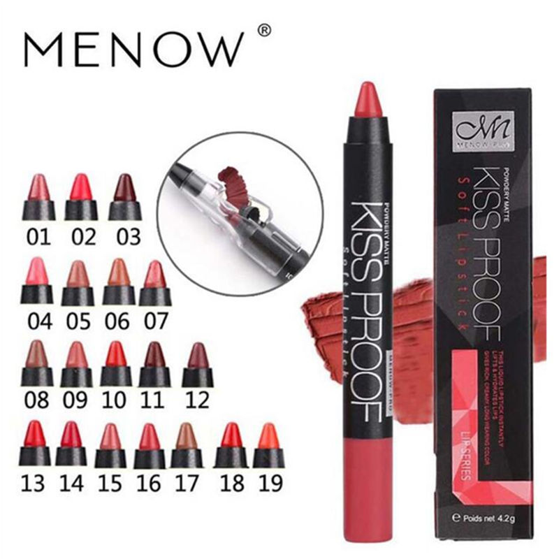 Menow 19 Color KISS PROOF Beauty Waterproof Lipstick Pen Lasting Do Not Fade Lipstick Gift Pencil Sharpener P13016 Drop Shipping screw extractor