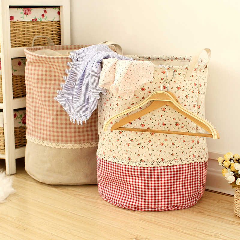 Canvas Laundry Basket Clothes Storage Bundle Port Can Be Stacked Basket Home Decor Organizer Bucket Children Toy Storage Basket