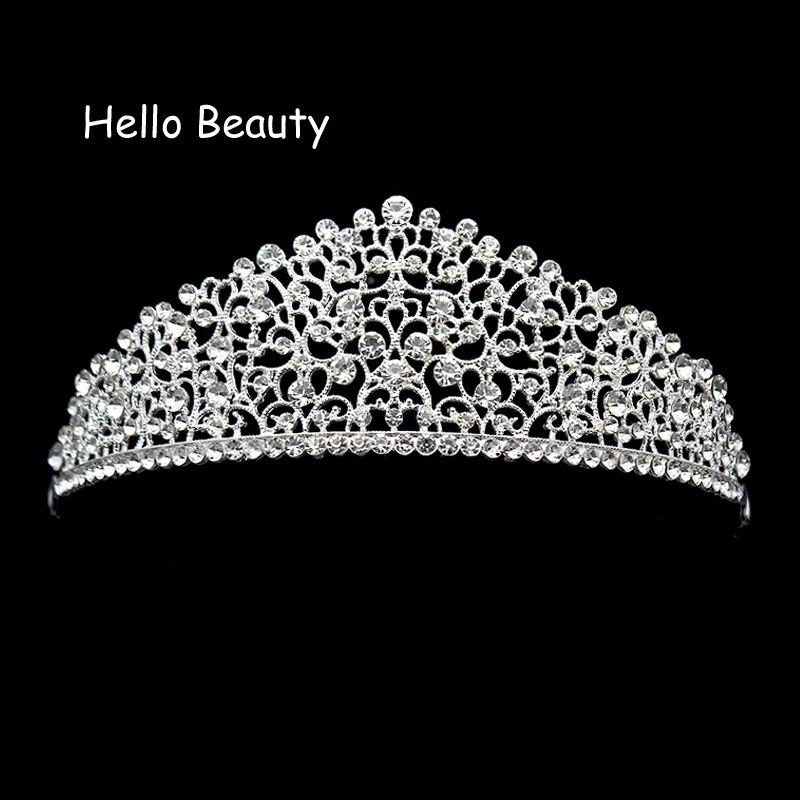 Big Gorgeous Sparkling Clear Crystal Wedding Diamante Pageant Tiaras Rhinestone Bridal Crowns For Brides Bridesmaid Hair Jewelry