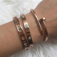 Mavis Hare 6mm Wide zircon Crystal & Roman numerals & Nail Cuff Bangle Set Stainless Steel Cuff Open Bracelet Bangle for women
