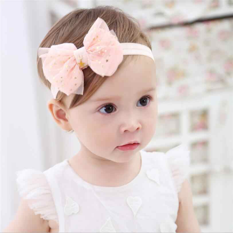 1 Piece MAYA STEPAN Candy Color Headwrap Baby Headwear Girls Hair Hairband Bronzing Bowknot Star Head Band Infant Newborn